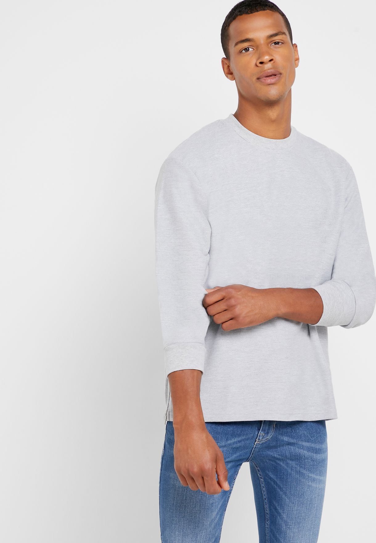Side Zip Twill Slim Fit Sweatshirt
