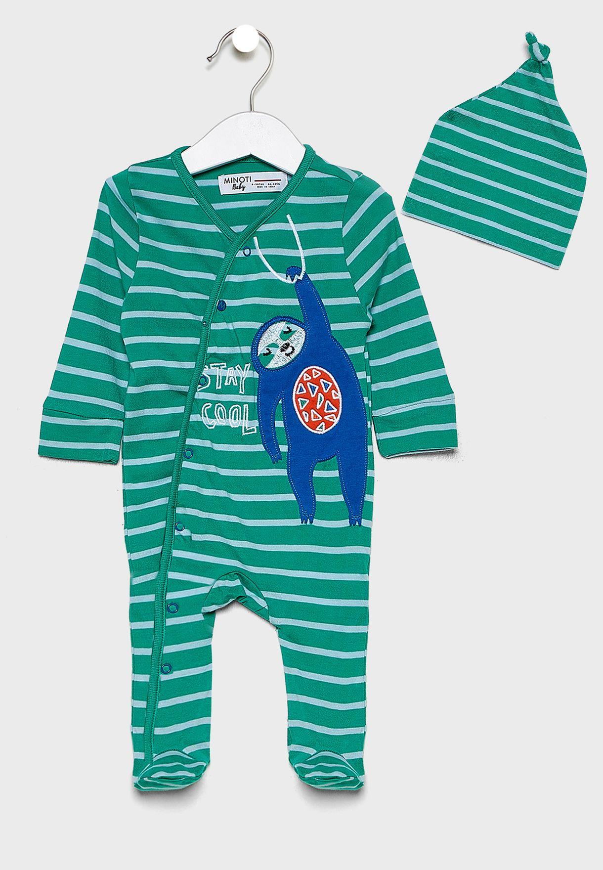 Infant Striped Romper+Hat Set