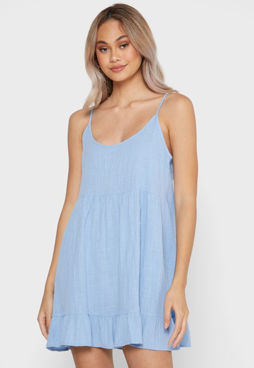 Woven Strappy Tiered Tunic