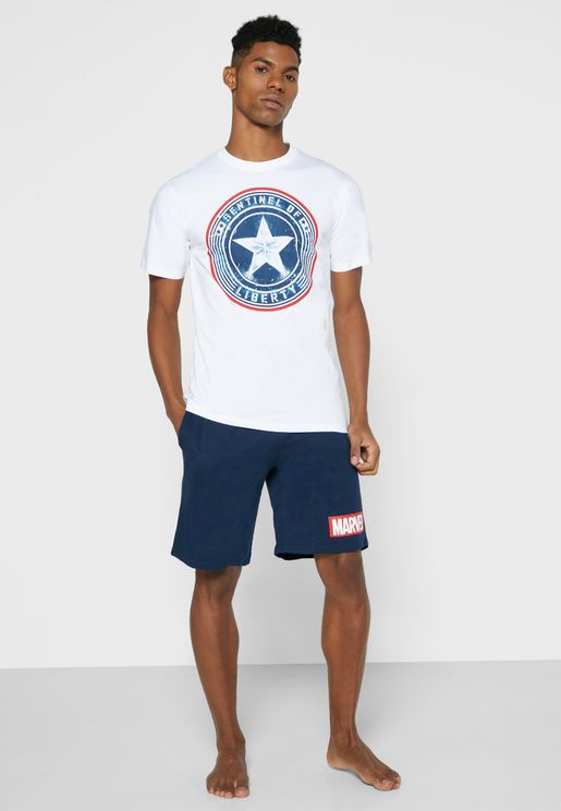 Captain America Pyjama Shorts Set