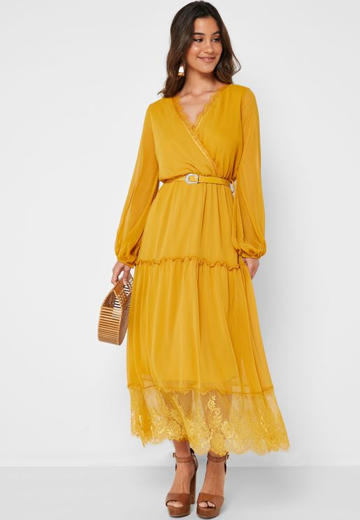 Wrap Front Lace Trim Belted Maxi Dress