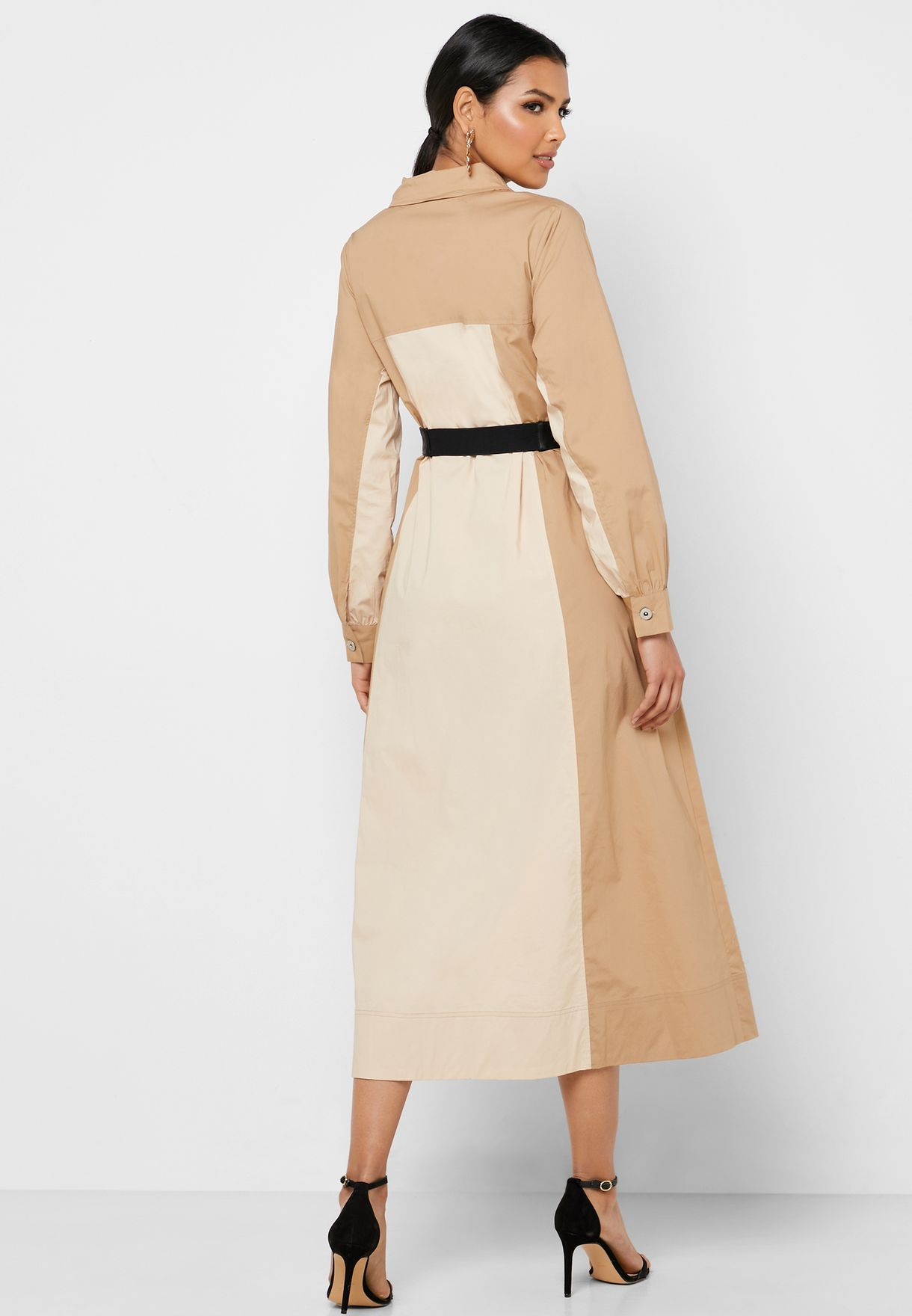 Colorblock Belted Shirt Dress