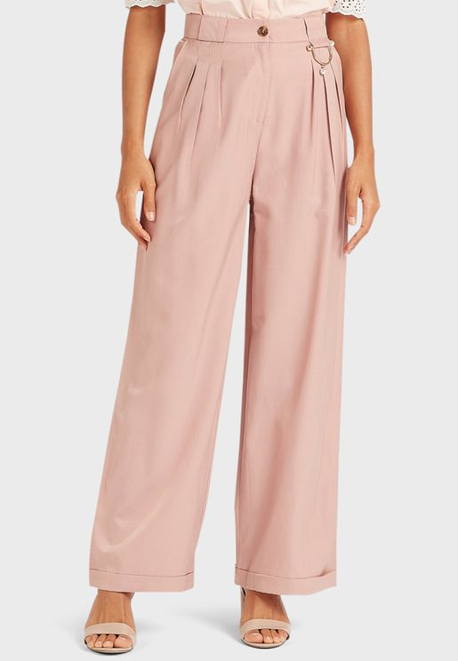 Wide Leg Pleat Detail Pants