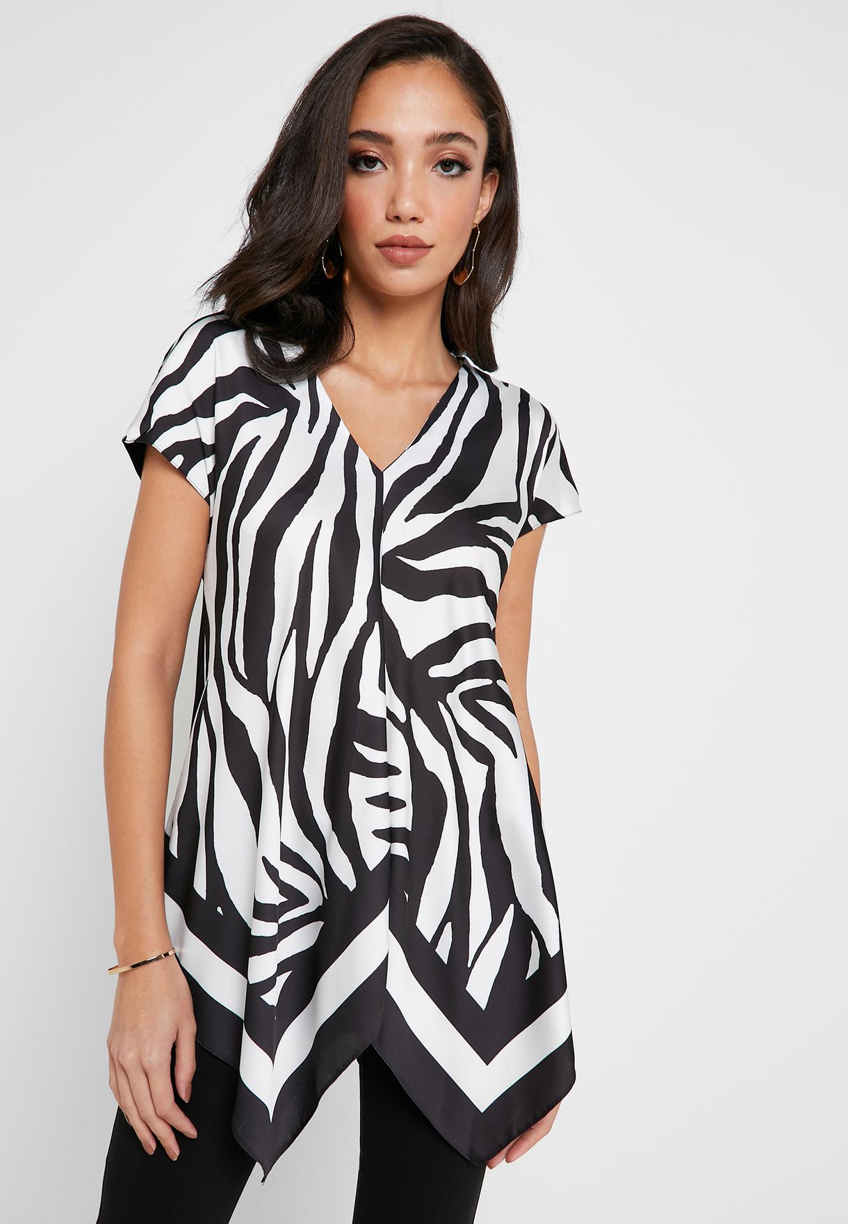 Asymmetric Zebra Print Top