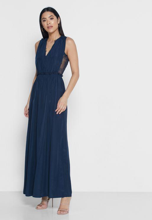 Plunge Sleeveless Maxi Dress