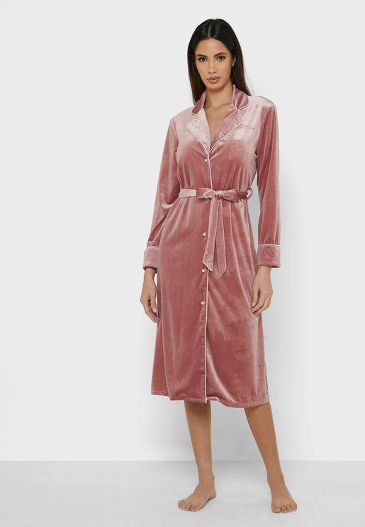 Velvet Button Though Self Tie Robe
