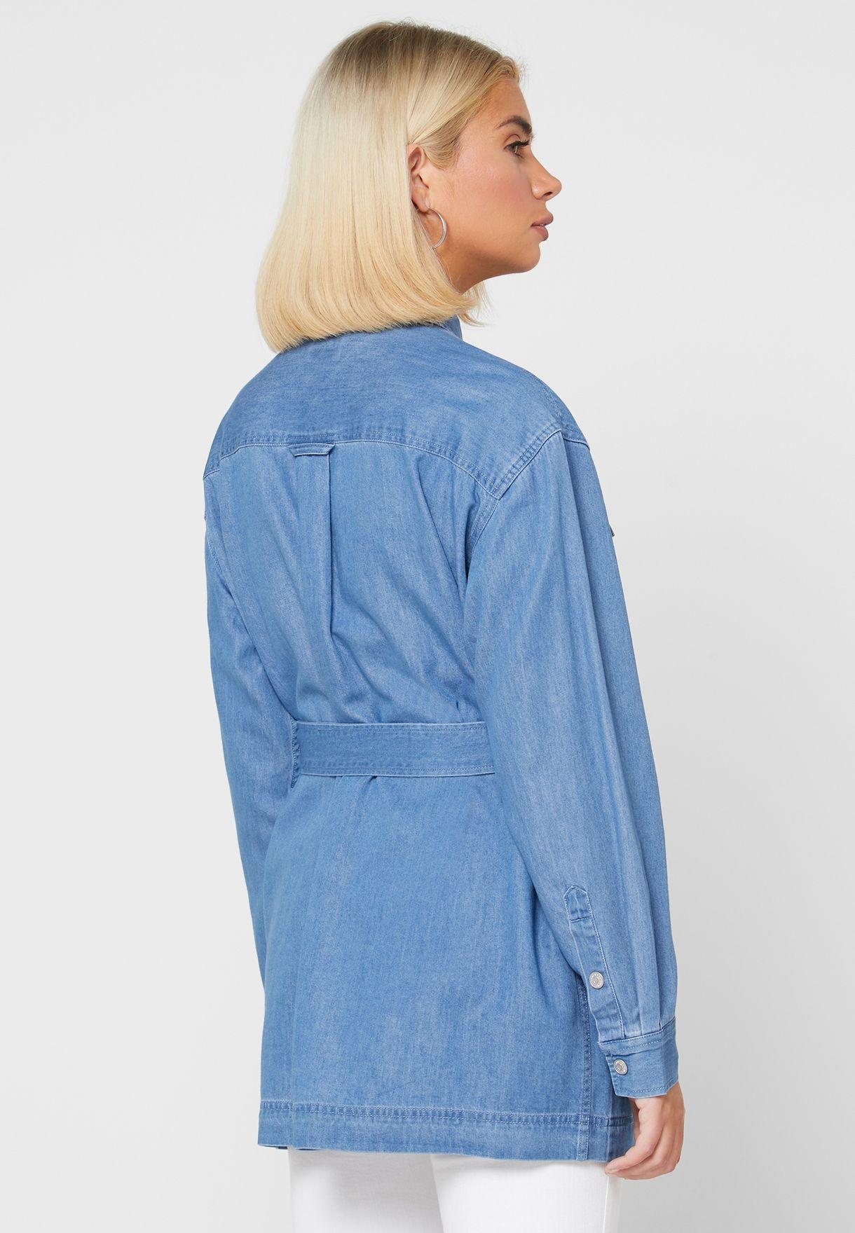 Belted Denim Shirt