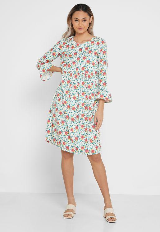 Crew Neck Printed Dress