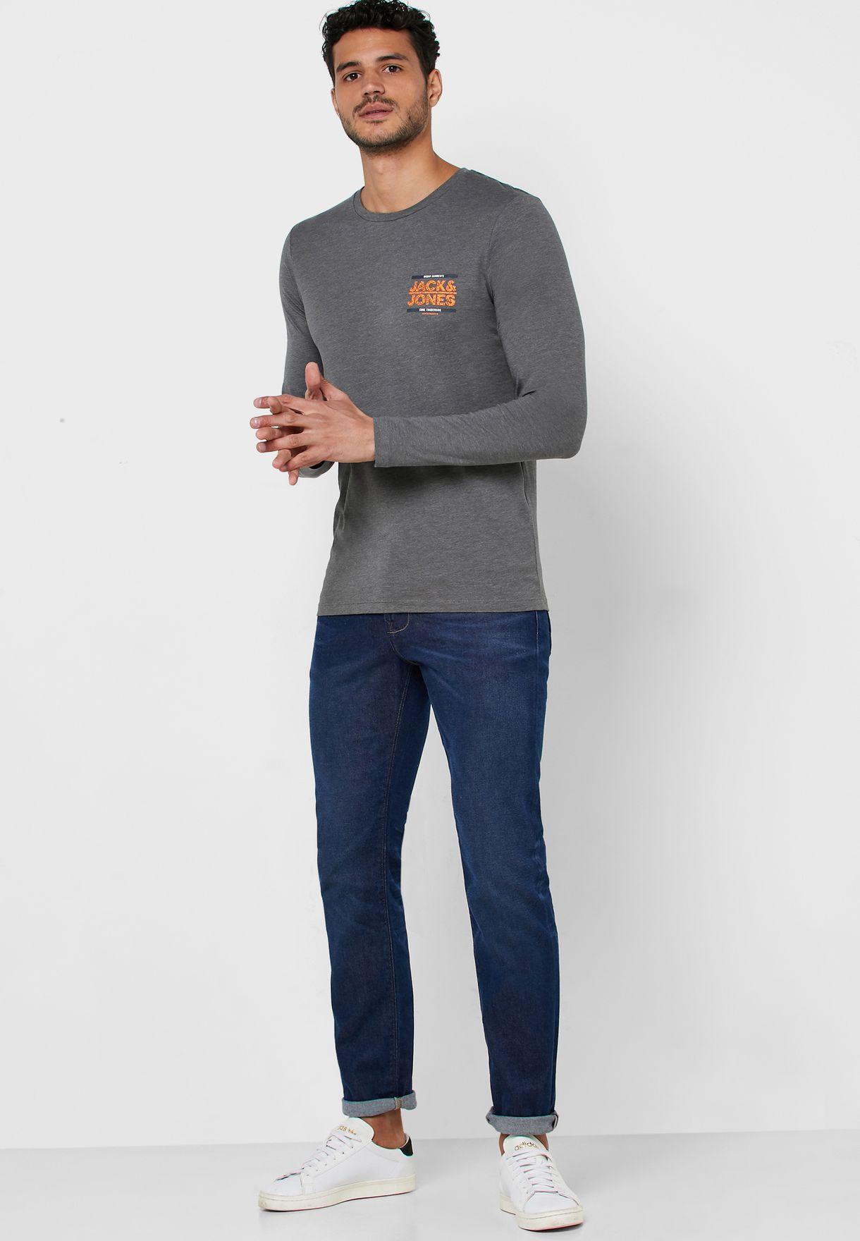 Chest Logo Slim Fit Crew Neck T-Shirt