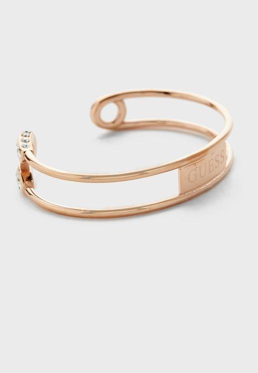 Safety Pin Pave Open Bracelet