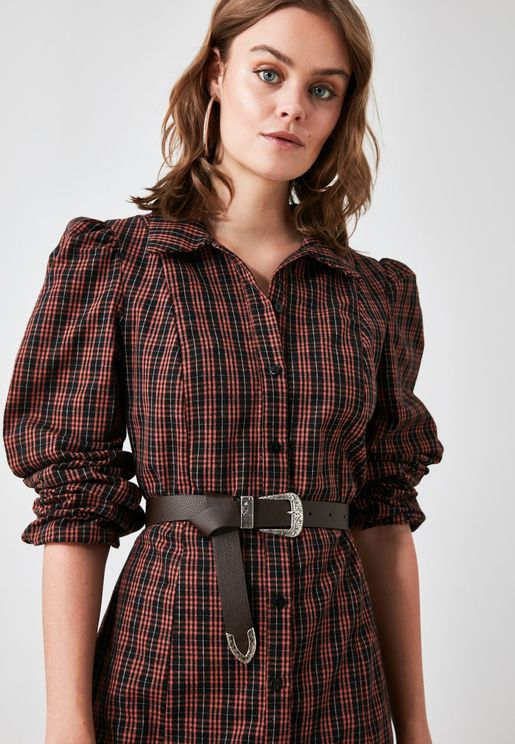 Buckle Leather Look Belt