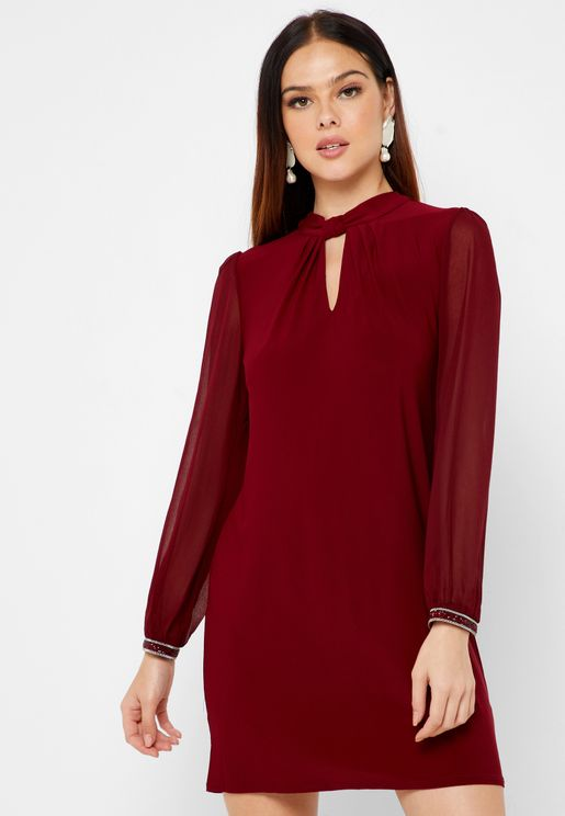 Keyhole High Neck Dress
