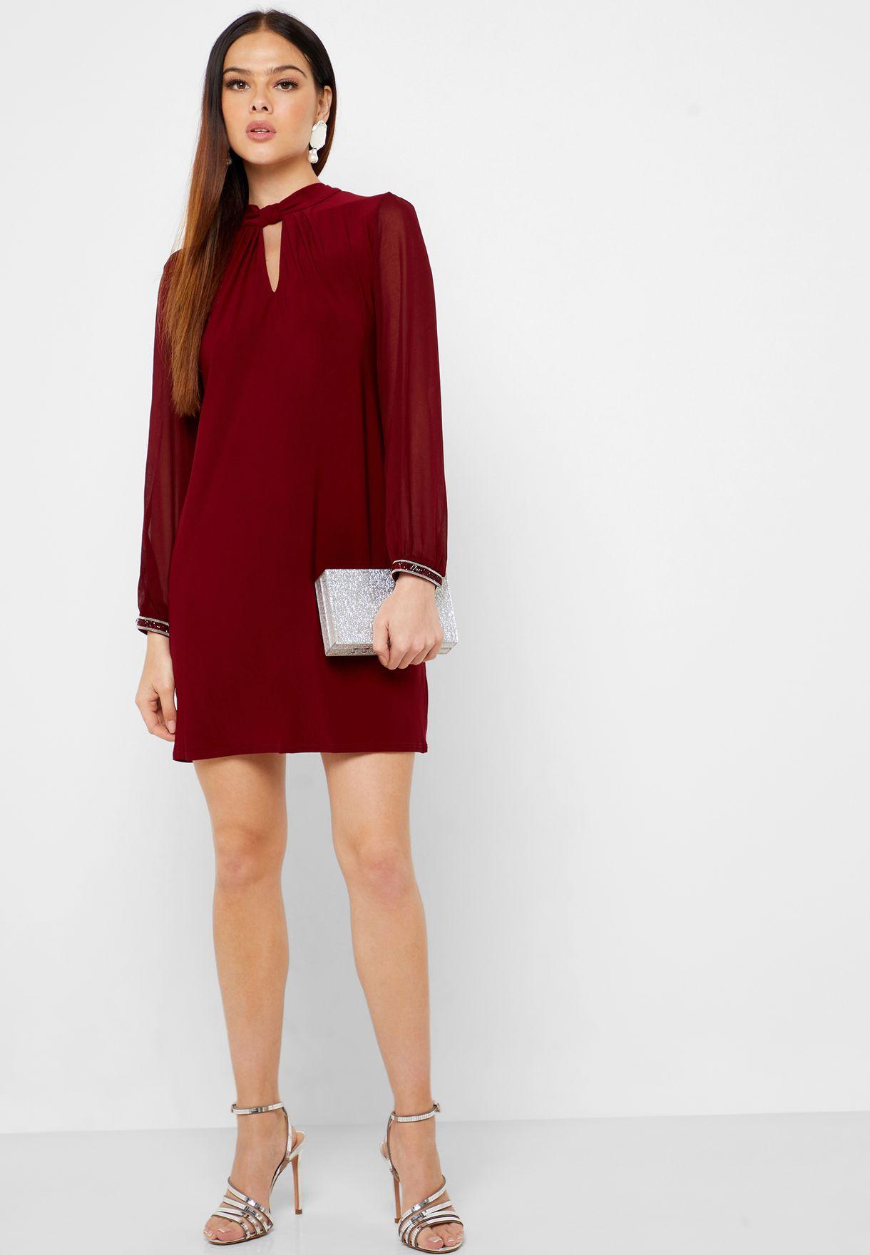 Keyhole High Neck Dress