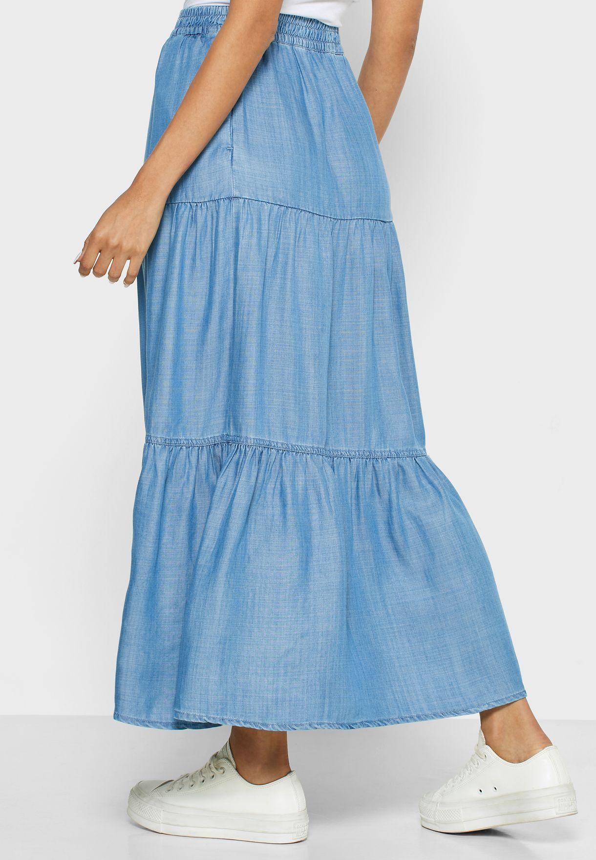 Tiered Denim Skirt