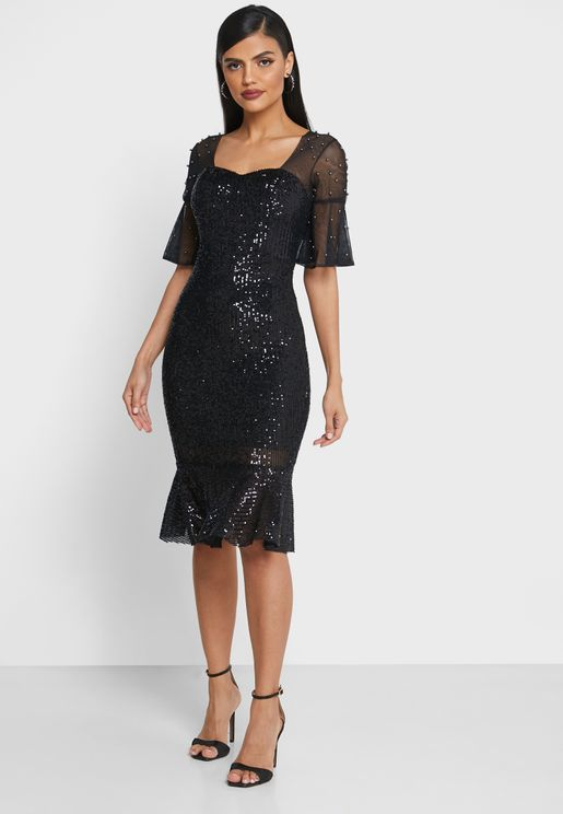 Sheer Sleeve Sequin Midi Dress