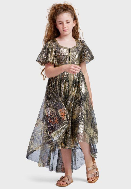 فستان بياقة قلب للاطفال
