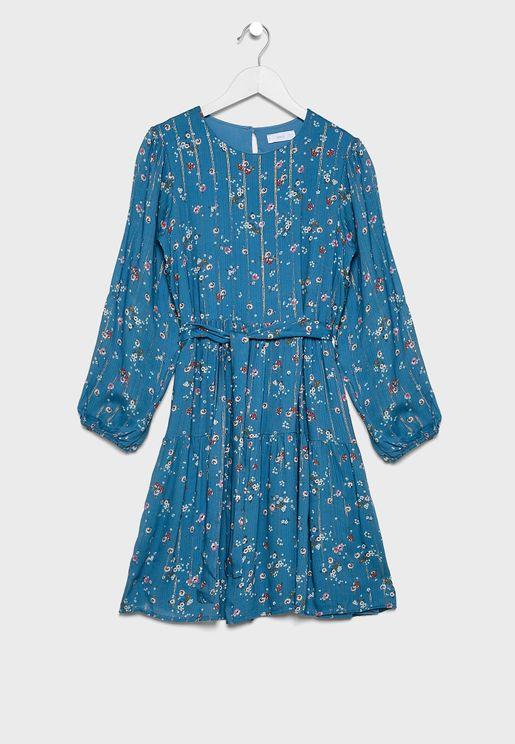 Kids Floral Belted Dress