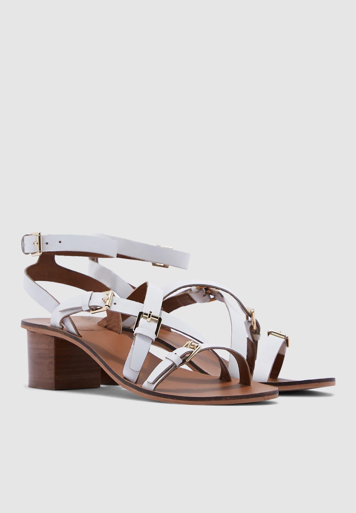45ff638abc957 Shop Topshop white Virgo White Buckle Sandals - White 32V09QWHT for ...