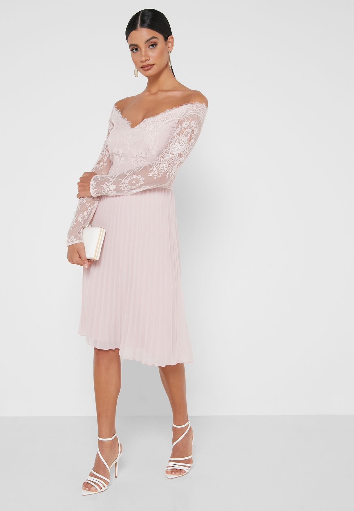 Chrissy Pleated Bardot Dress
