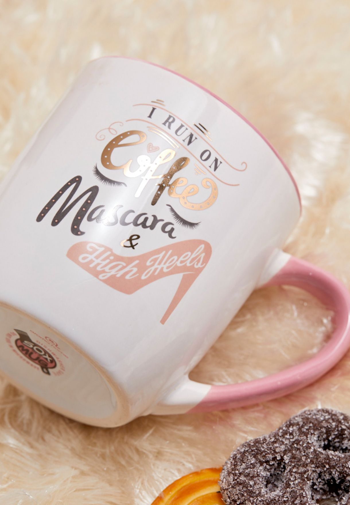 Coffee, Makeup, Heels Slogan Mug with Socks Gift Set
