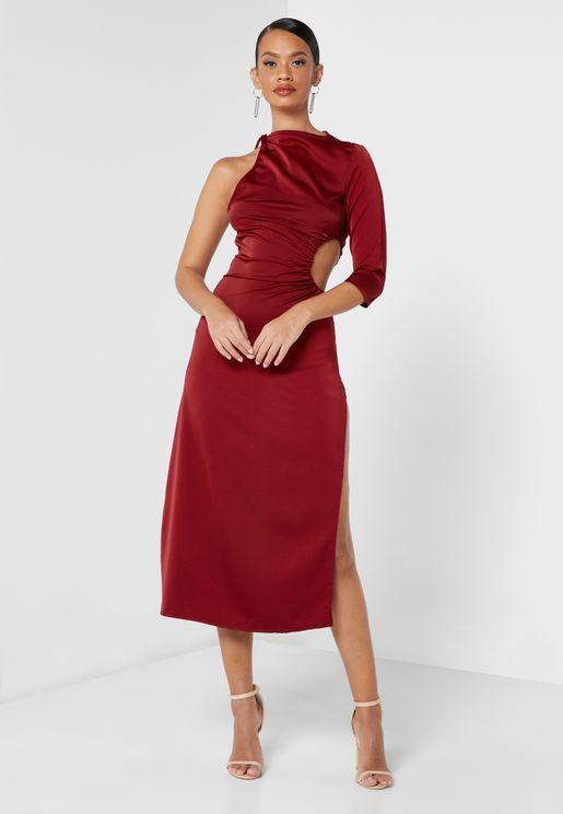 One Shoulder Satin Slit Dress
