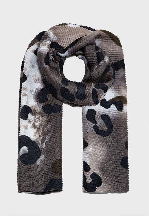 Leopard Tie Dye Plisse Scarf