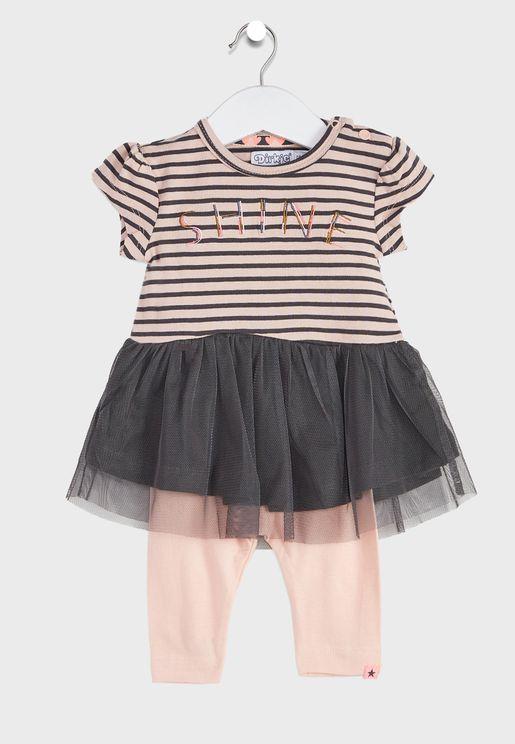 Infant Striped Dress + Leggings Set