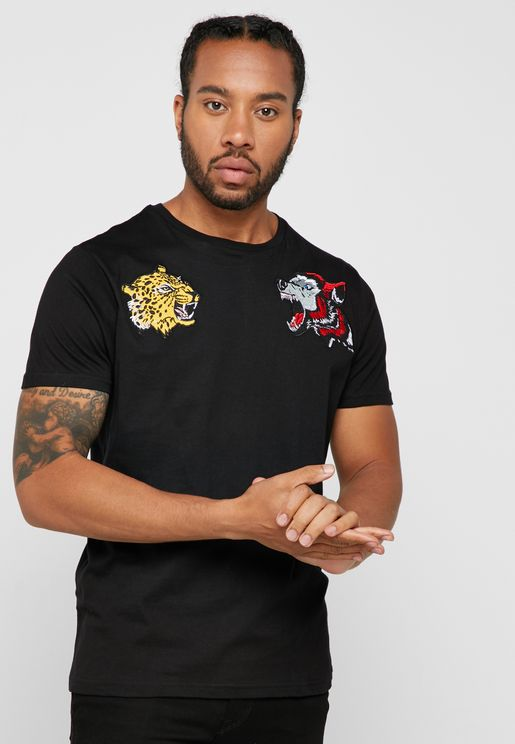 af4188cbd906 Lion Badges Crew Neck T-Shirt