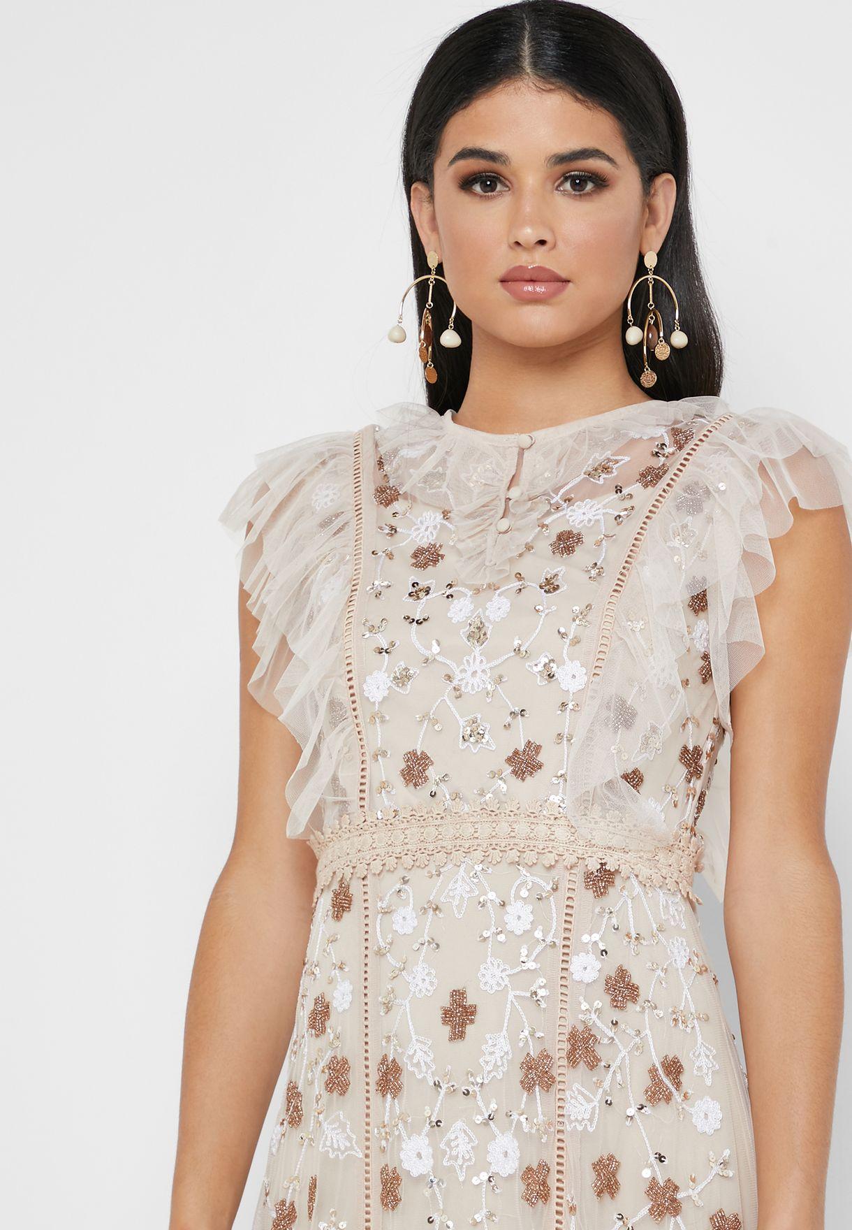 Ruffle Detail Embellished Dress