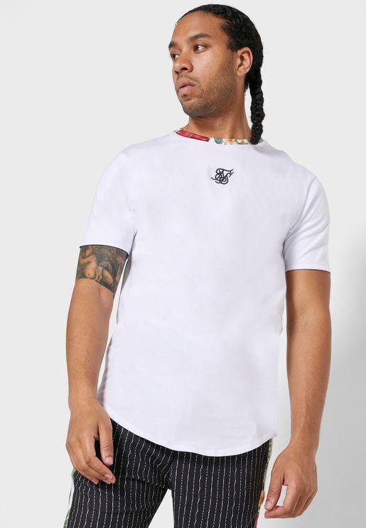 Curved Hem Roll Sleeve T-Shirt