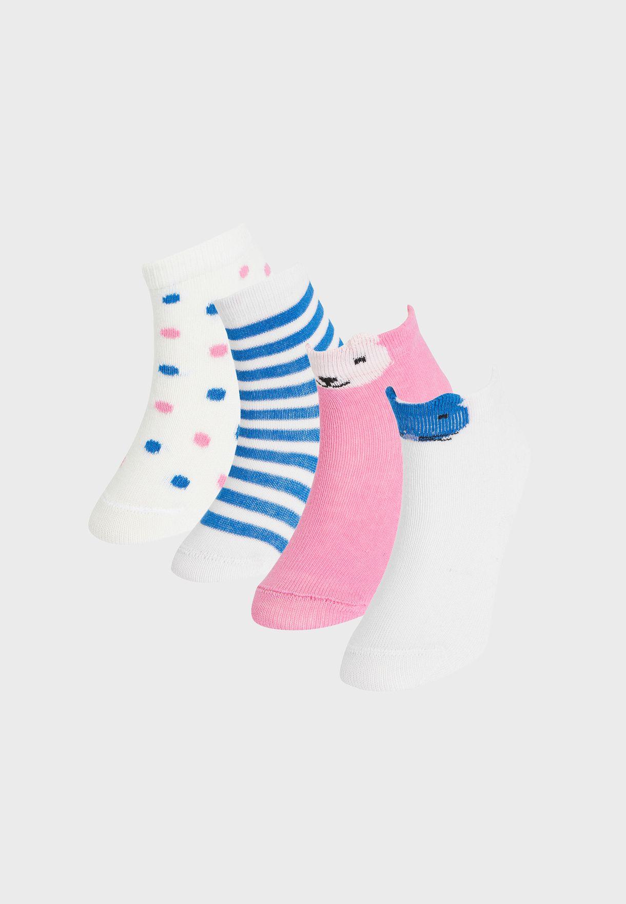 Infant 4 Pack Assorted Socks