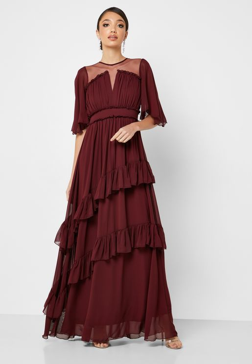 Tiered Ruffle Detail Maxi Dress