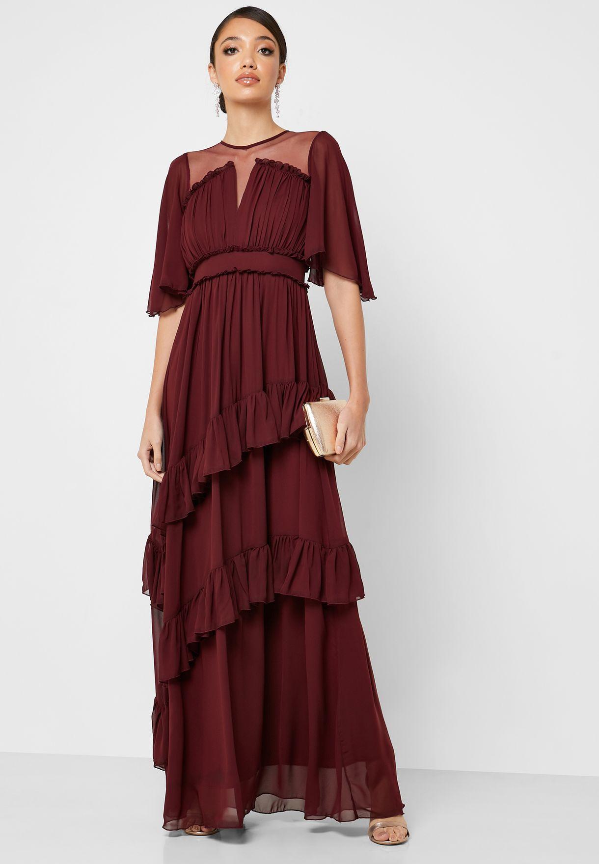 فستان مكسي بأجزاء شبك وطبقات