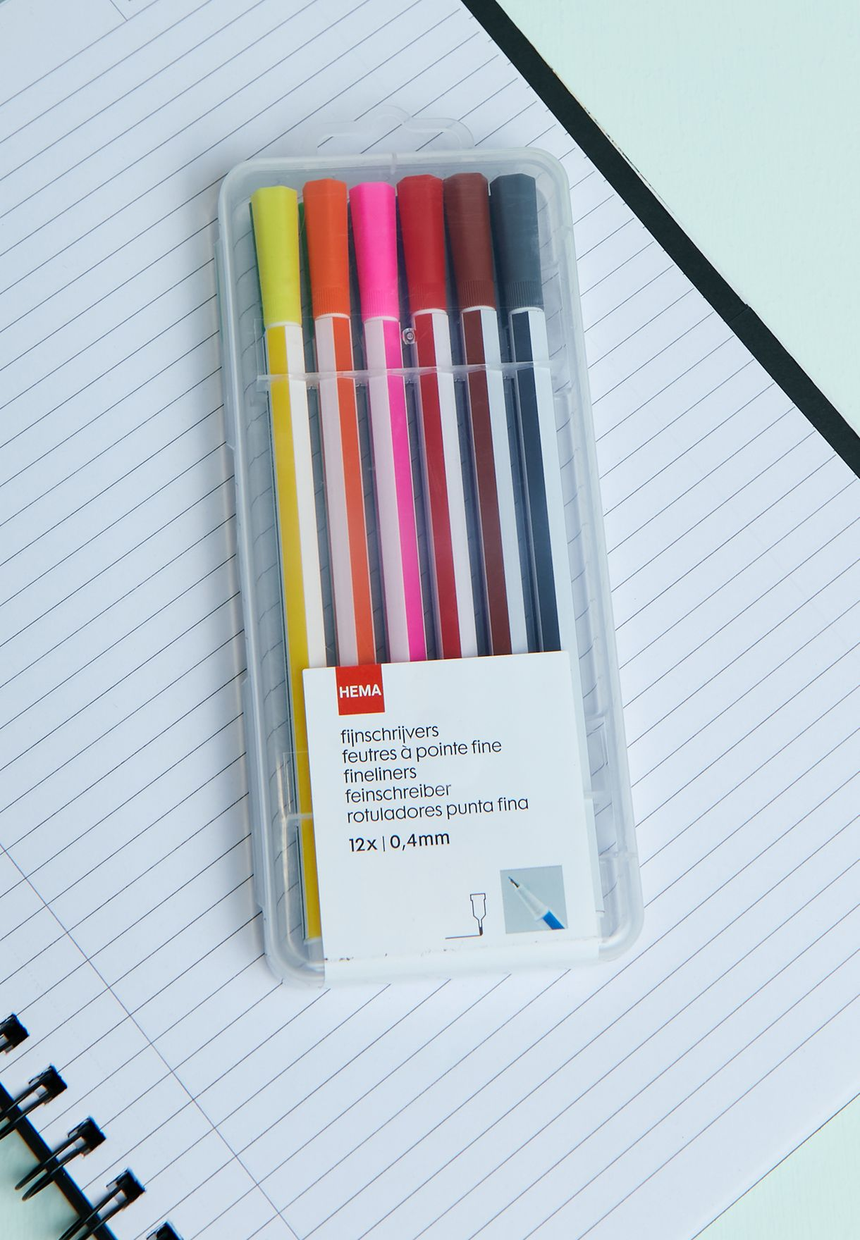 Set Of 12 Coloured Fine Liners