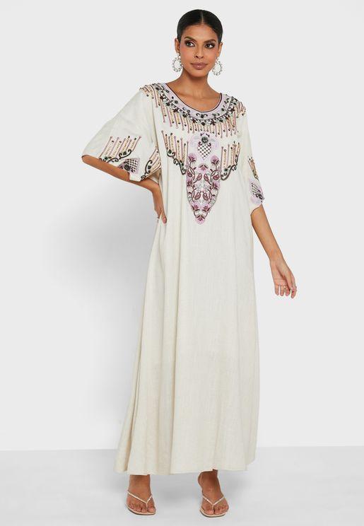 Embroidered Pleated Jalabiya Dress