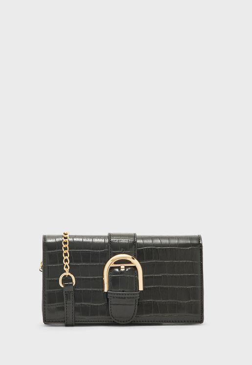 Buckle Detail Croc Handbag