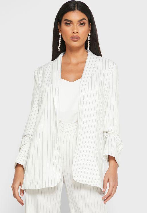 Striped Ruched Sleeve Pocket Blazer