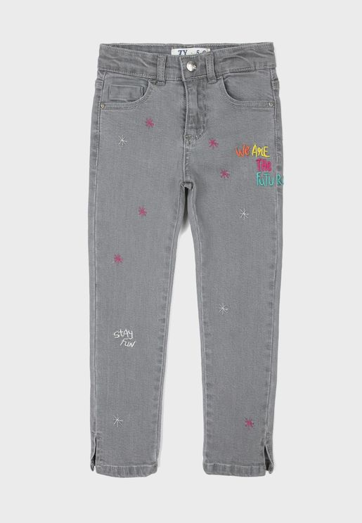 Kids Embroidered Denim Jeans