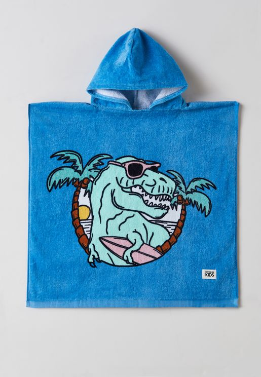 Kids Dino Surf Hooded Towel