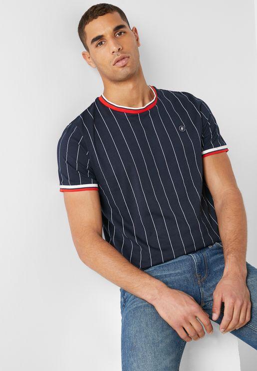 Pinstripe  Crew Neck T-Shirt