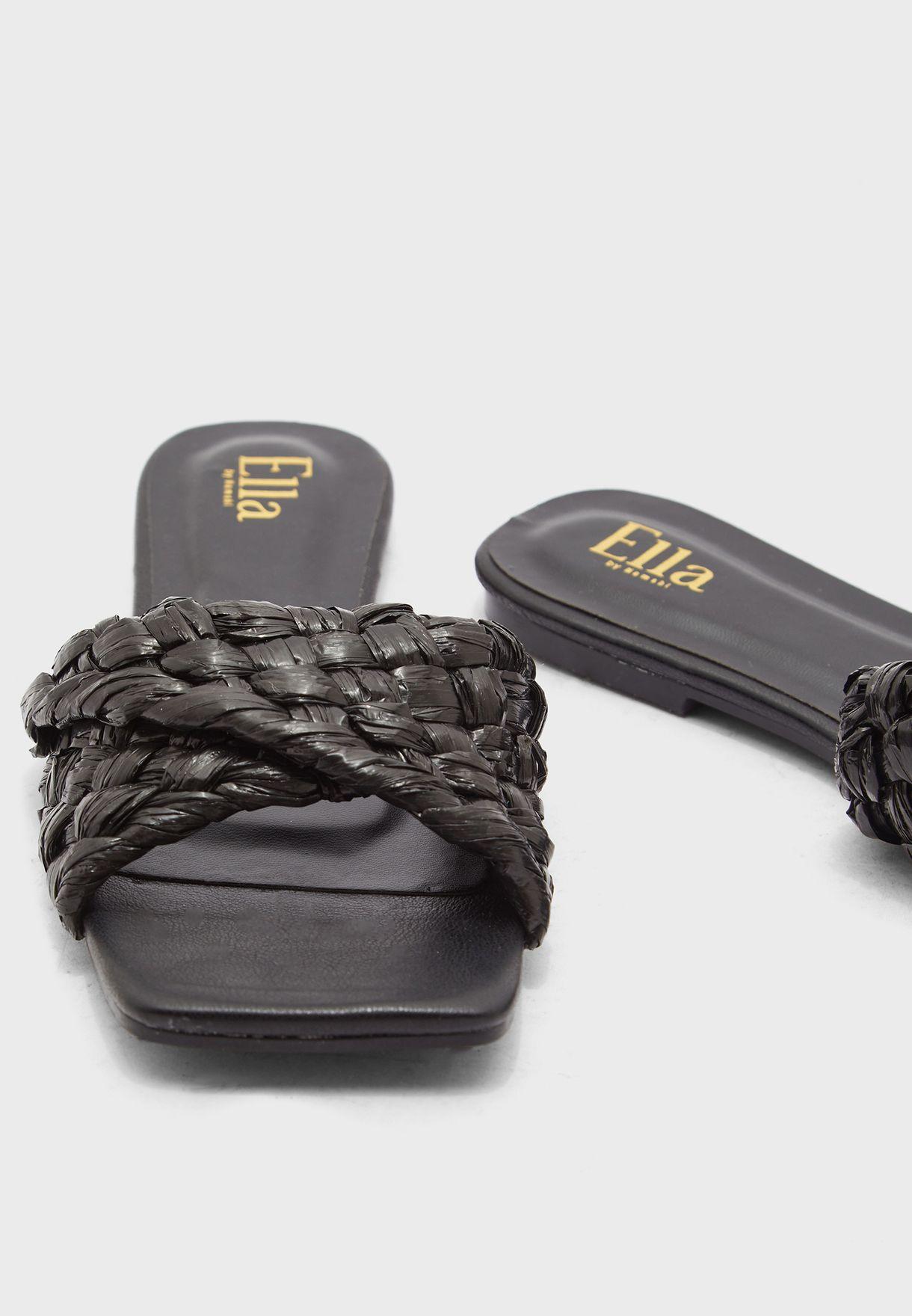 Raffia Strap Square Toe Flat Sandal