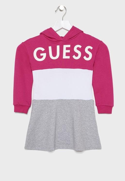 Kids Colorblock Hoodie Dress