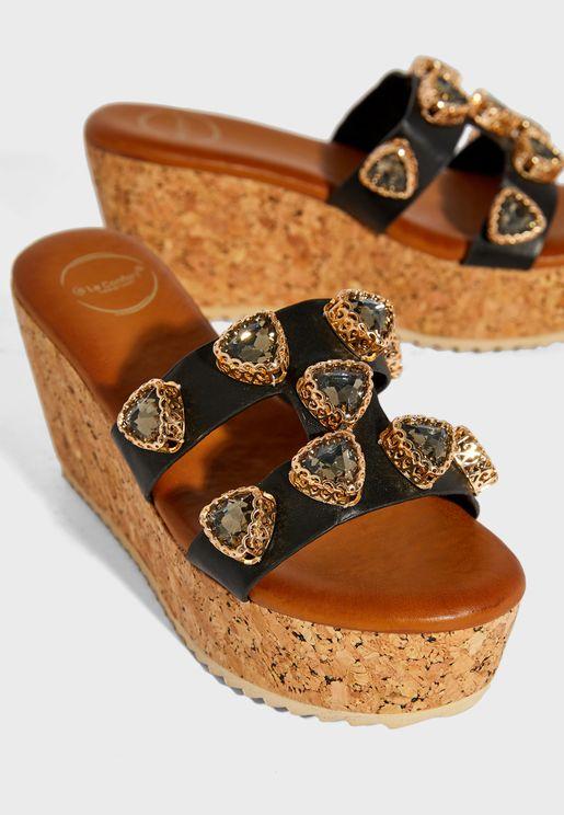 Studded Detail High Heel Wedge Sandal