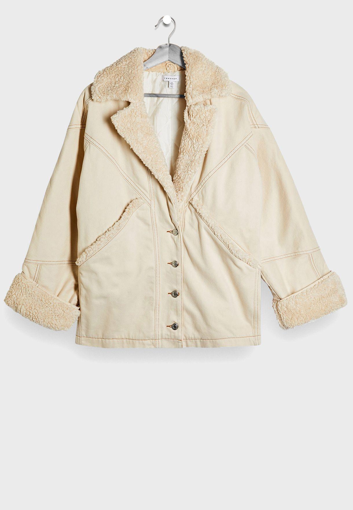 معطف مزين بفرو