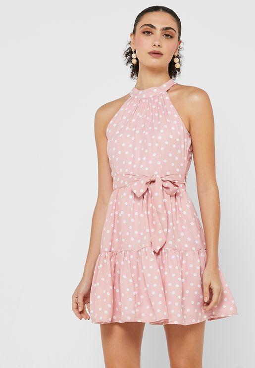 Polka Belted Halter Dress
