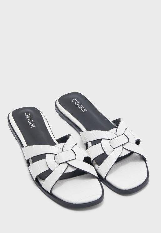 Weave Design Sandals in Croc