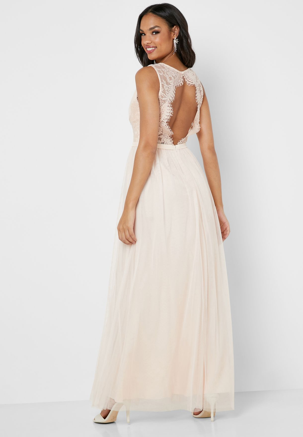Lace Top Tulle Skirt Maxi Dress