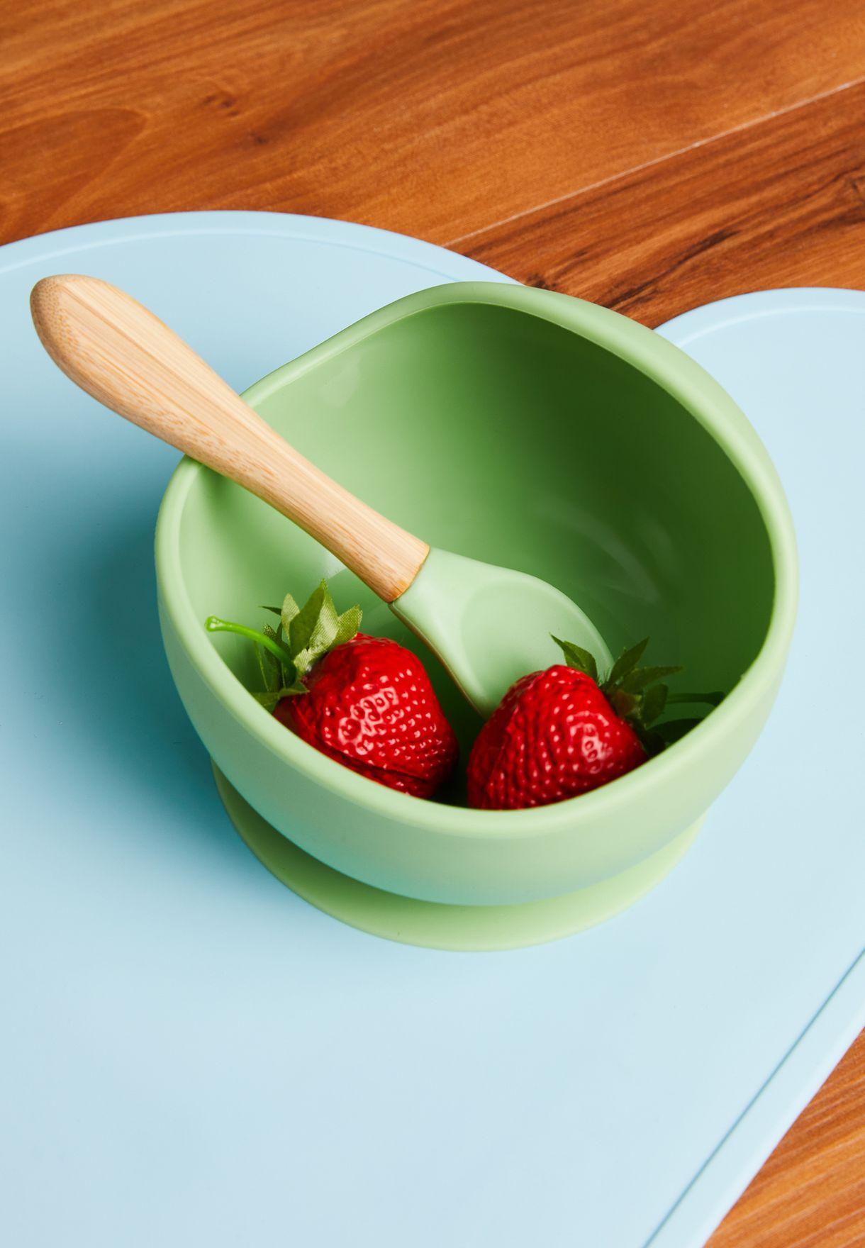 طقم أدوات مائدة من السيليكون (ملعقة  + صحن)