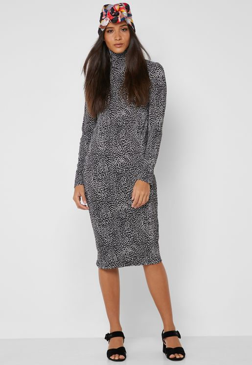 Abstract Print Polo Neck Midi Dress