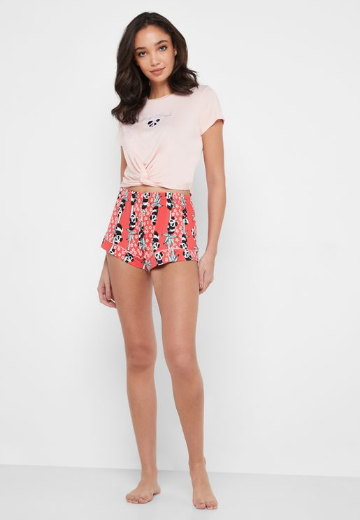 Graphic Detail T-Shirt & Printed Shorts Set
